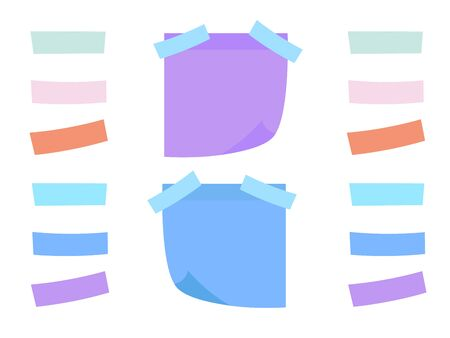Vector illustration of multicolor  notes. Colored sheets of note papers