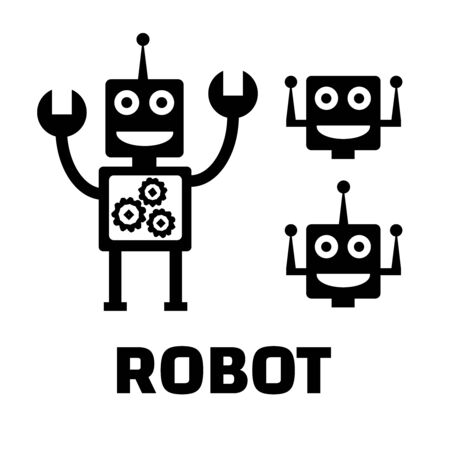 Robot flat icons. Robot pictograms illustration
