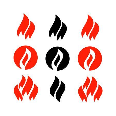 Fire icons, fire flame illustration set vector Çizim