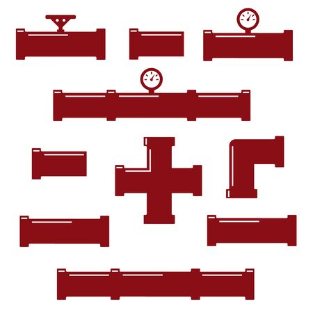 Pipe fittings vector icons set. Tube industry, construction pipeline