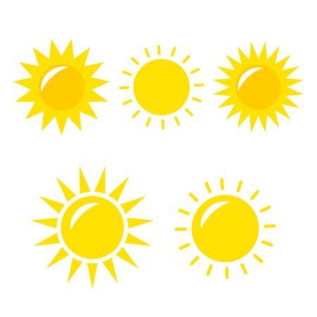 Sun Vector icon. Sun Vector doodle illustration. Sun Vector icon yellow set Ilustración de vector