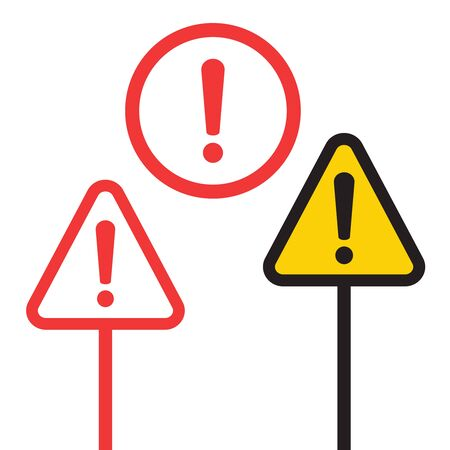 Alert icon and Attention sign. Alert icon vector flat design illustration. Exclamation mark, Alert sign.