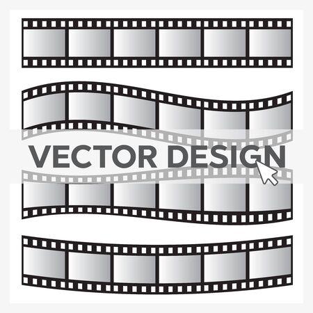 Film roll vector, film 35mm, slide film frame set. Negative and strip, media filmstrip Ilustración de vector
