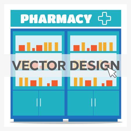Pharmacy opposite the shelves vector illustration in flat style