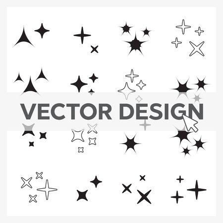 Sparkles line icons. Black sparkles symbols vector eps10