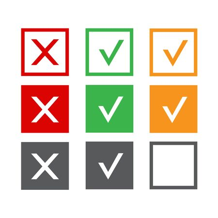 Yes and no accept. Approve sign. Check and choice icons