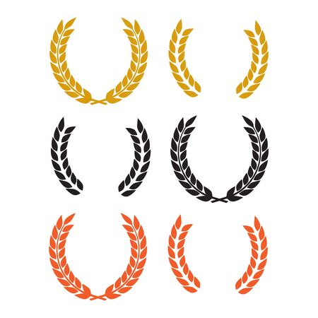 Round laurel and oak heraldry wreaths. Award, achievement, nobility vector design elements isolated Çizim