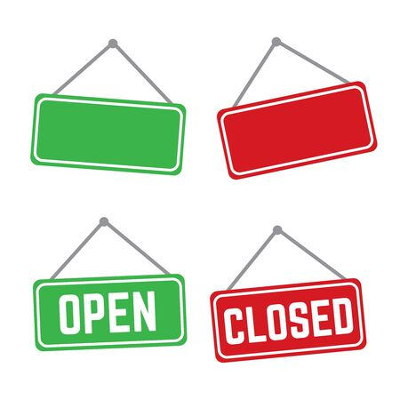 Open and closed vector store signs red and green. Shop banner door open illustration