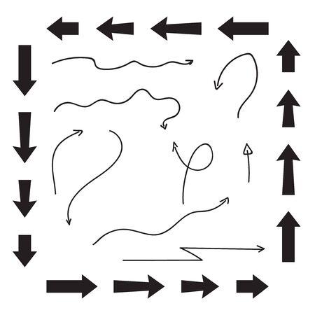 Hand drawn arrows set. Sketch hand draw arrows vector Çizim