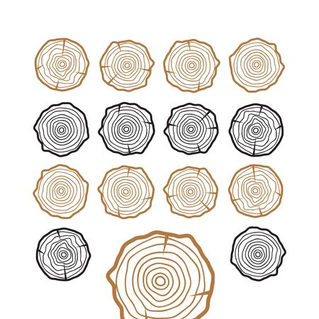 Abstract age annual circle tree background. Tree rings vector set Banque d'images - 149039892