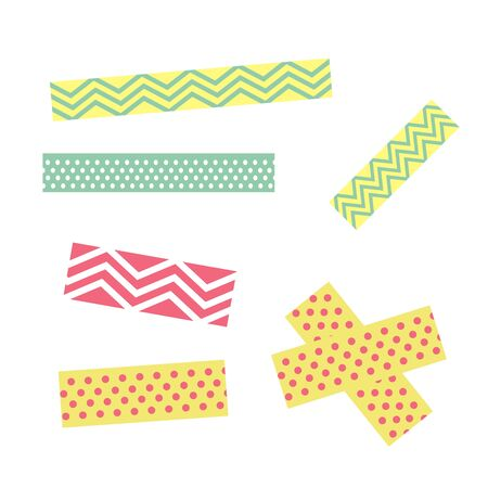 Scotch with geometric pattern. Tape for scrapbook vector set