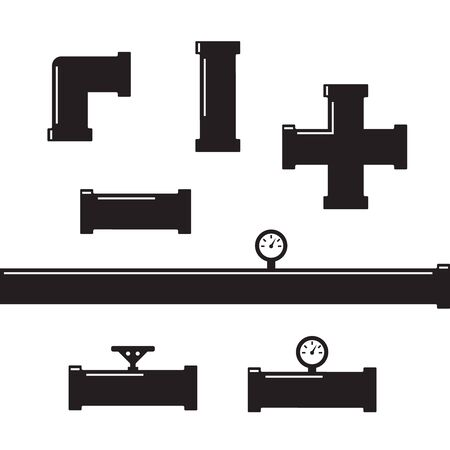 Pipe fittings vector icons set. Tube industry, construction pipeline, drain system. Pipeline water vector