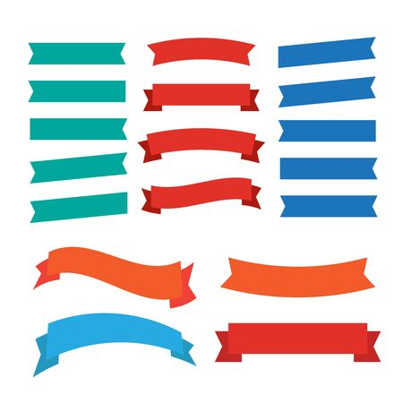 Flat vector ribbons banners isolated. Ribbons banners  イラスト・ベクター素材
