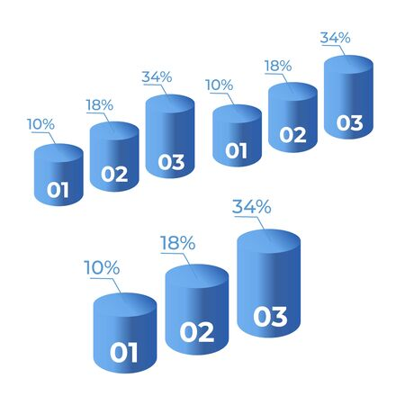 Statistics 3d graph bar chart. Infographic steps and options. Chart and graph presentation