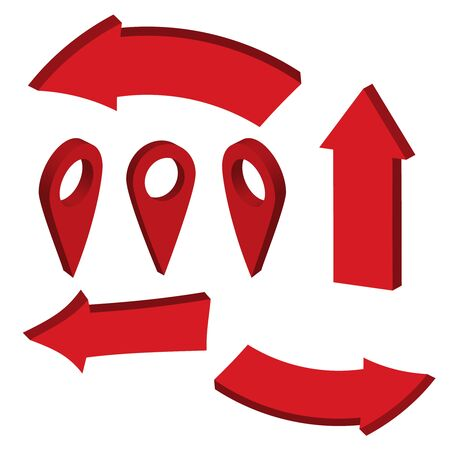 Glossy red 3d arrows. Arrow 3d web curve vector Çizim