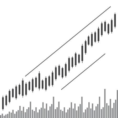 Graph chart stock market. Trend of graph vector illustration. Çizim