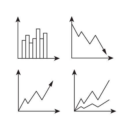 Sketch business graphic. Charts vector doodle infographics Иллюстрация