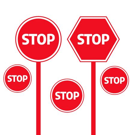 Traffic stop dangerous vector signs. Stop, warning and attention sign