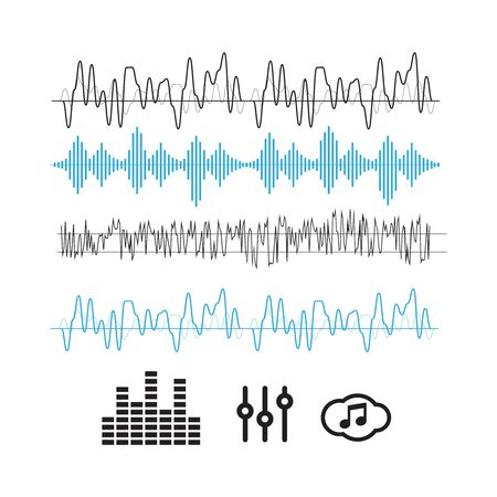 Sound waves concept. Sound waves vector. Sound waves sign and symbol in flat style Ilustrace