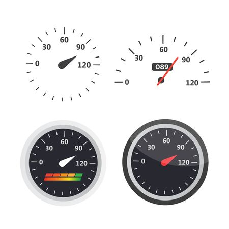 Car speedometer with speed level scale. Dashboard element panel speed