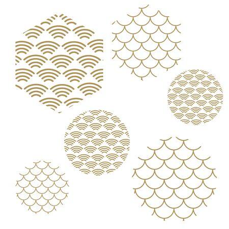 Wave pattern. Sea japan pattern vector Çizim