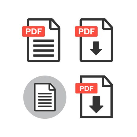 File download icon. Document icon set. PDF file download icon  イラスト・ベクター素材
