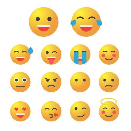 Emoticon set. Collection of Emoji. 3d emoticons eps10