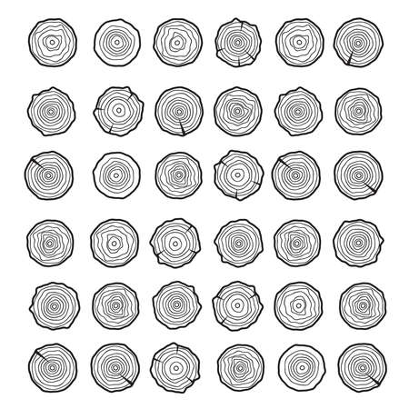 Abstract age annual circle tree background. Tree rings vector set