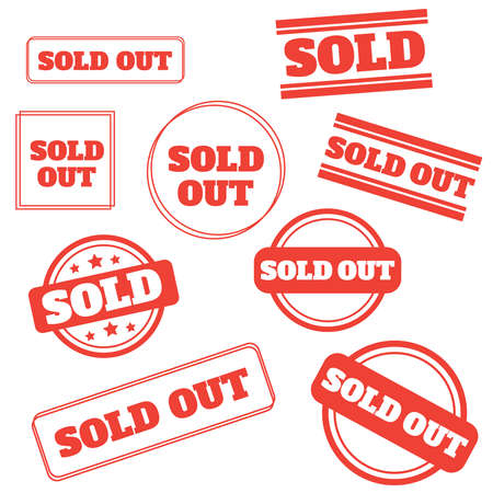 Sold out stamps grunge. Sold out badge Ilustração