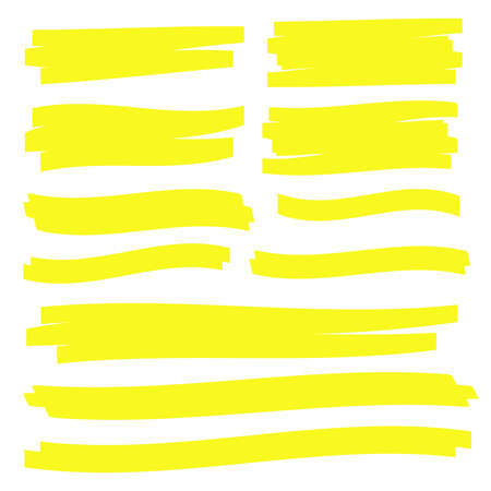 Yellow highlight marker lines. Highlighter strokes vector. Marker marks Ilustração