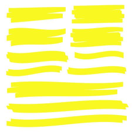 Yellow highlight marker lines. Highlighter strokes vector. Marker marks  イラスト・ベクター素材