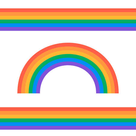Set of rainbows white background. Rainbow 3d icon