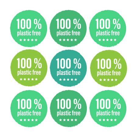 Plastic free green icon. Bpa 100 free plastic mark  イラスト・ベクター素材