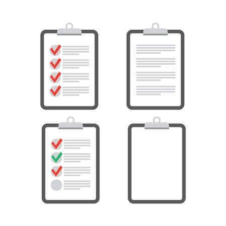 Clipboard checklist flat design. Check list vector. Clipboard and check marks.