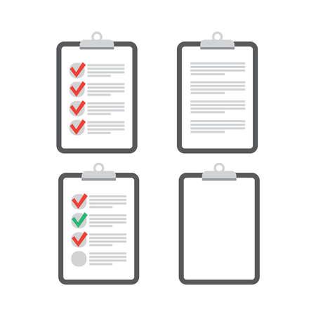 Clipboard checklist flat design. Check list vector. Clipboard and check marks.