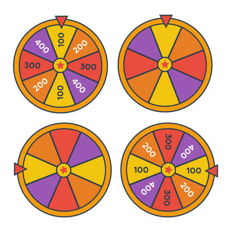 Wheel Of Fortune lottery prize. Win fortune roulette. Wheel spin lottery Ilustração
