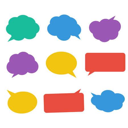 Blank empty white speech bubbles. Cloud bubble speech for communication  イラスト・ベクター素材