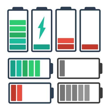 Battery charge full power. Energy level recharge battery indicator