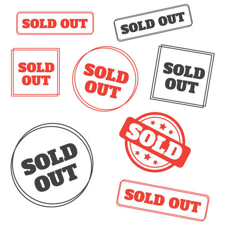 Red vector grunge stamp SOLD. Sold out stamps grunge. Sold out badge