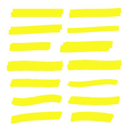 Yellow highlight marker lines. Highlighter strokes vector. Marker marks Ilustracja