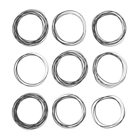 Doodle sketched circles. Doodle circle ring sketch