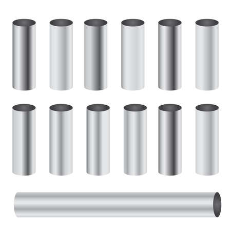 Chrome metal polished gradients corresponding to cylinder pipe vector set Ilustração