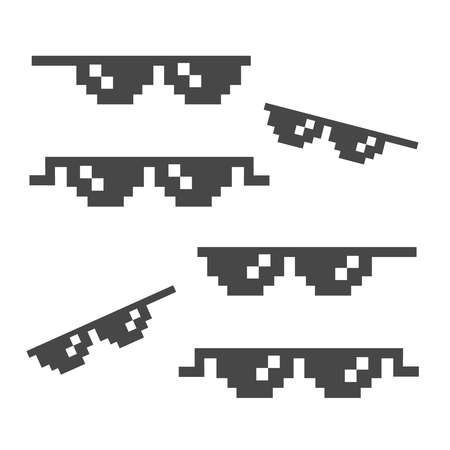 Funny pixelated sunglasses. 8bit style sunglasses vector icon