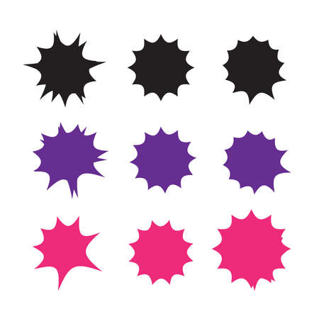Starburst explosion comic shapes vector. Speech boom bubbles