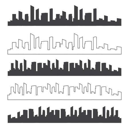 Outline urban vector cityscape. Skyline city silhouettes
