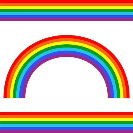 Set of vector rainbows white background. Rainbow 3d icon