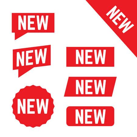 New stickers vector. Corner red banners. New label tag