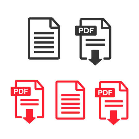 PDF File download icon. Document text, symbol web format information. Document icon set Illustration