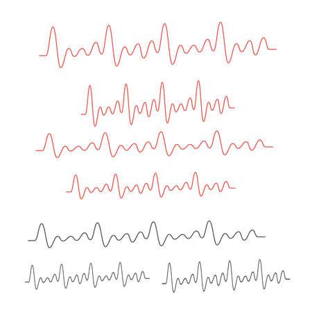 Line vector electrocardiogram. Heartbeat medical line cardiogram Illustration