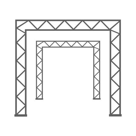Steel truss girder 3d construction equipment. Metal framework isolated vector illustration. Framework steel, schematic material prefabricated project